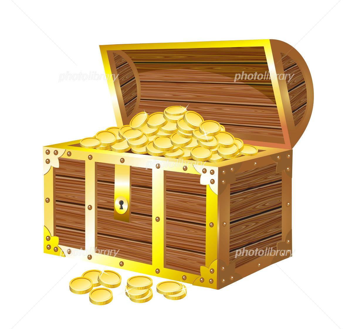 宝箱と金貨のイラスト