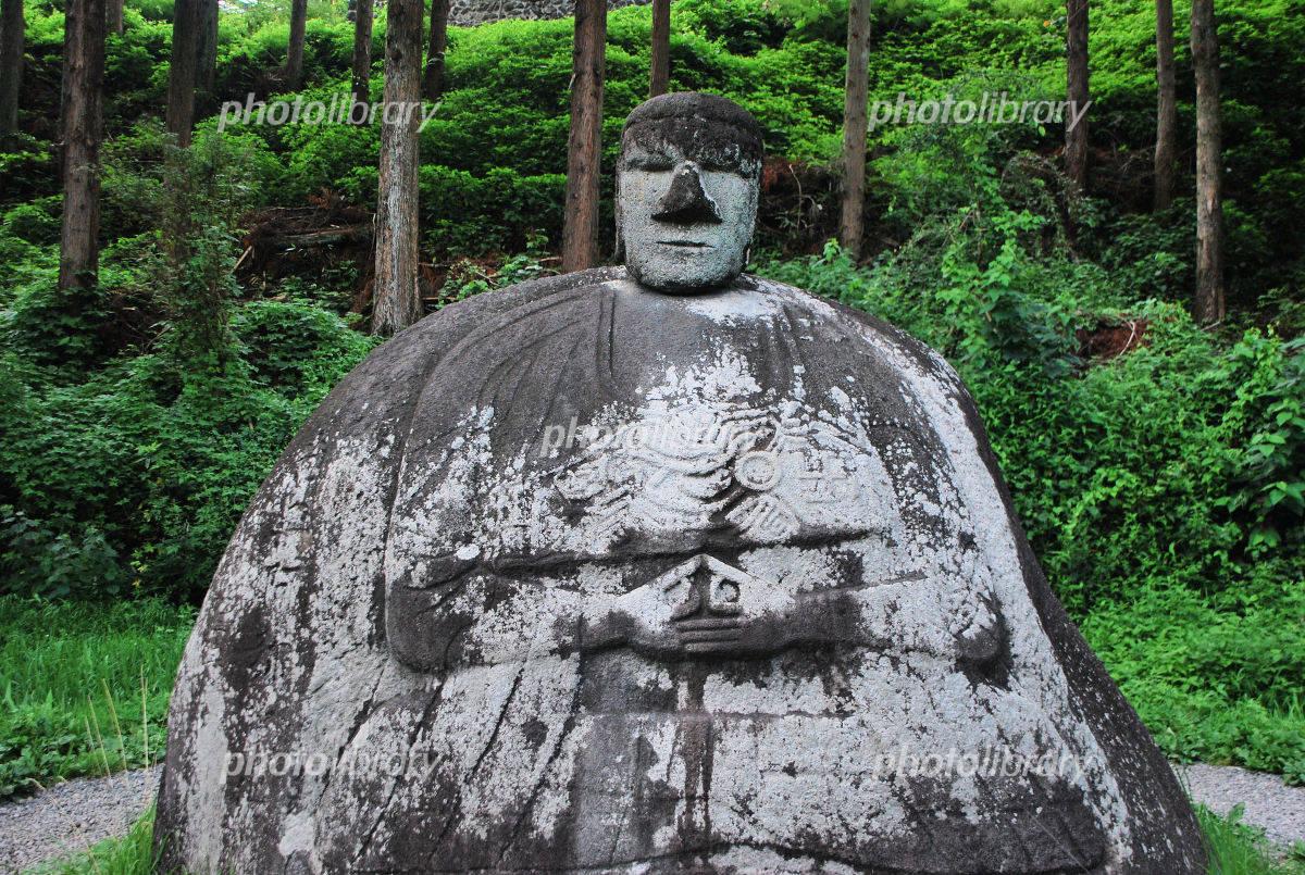 万治の石仏の写真素材