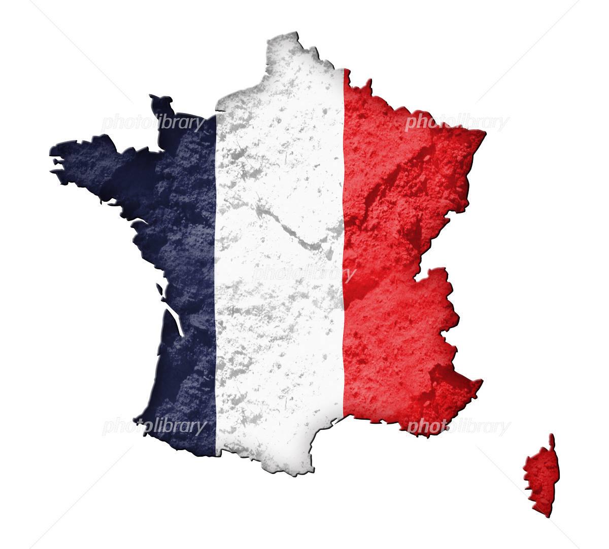 フランスの地図と国旗-写真素材 フランスの地図と国旗 画像ID 890678  フランスの地図と