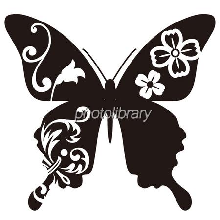 蝶シルエット 黒 イラスト素材 ... : メッセージ イラスト 無料 : イラスト