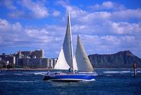 Waikiki and Diamond Head and the yacht Stock photo [696576] Waikiki