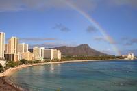 Waikiki Beach consuming rainbow Stock photo [861909] Hawaii