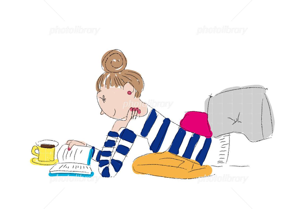 読書する女性 イラスト 背景白 8551×6025pix イラスト素材 [ 1047289