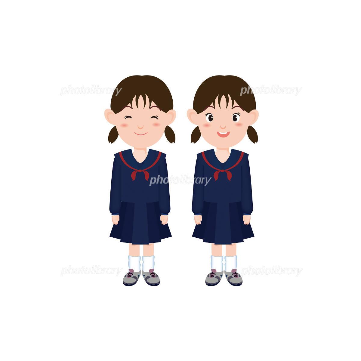 女子中学生のイラストセーラー服 イラスト素材 1048410 フォト