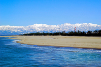 Tateyama mountain range seen from Iwase beach Stock photo [1051610] Iwase