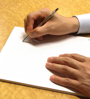 Hand of man to write a letter Stock photo [1054853] Work