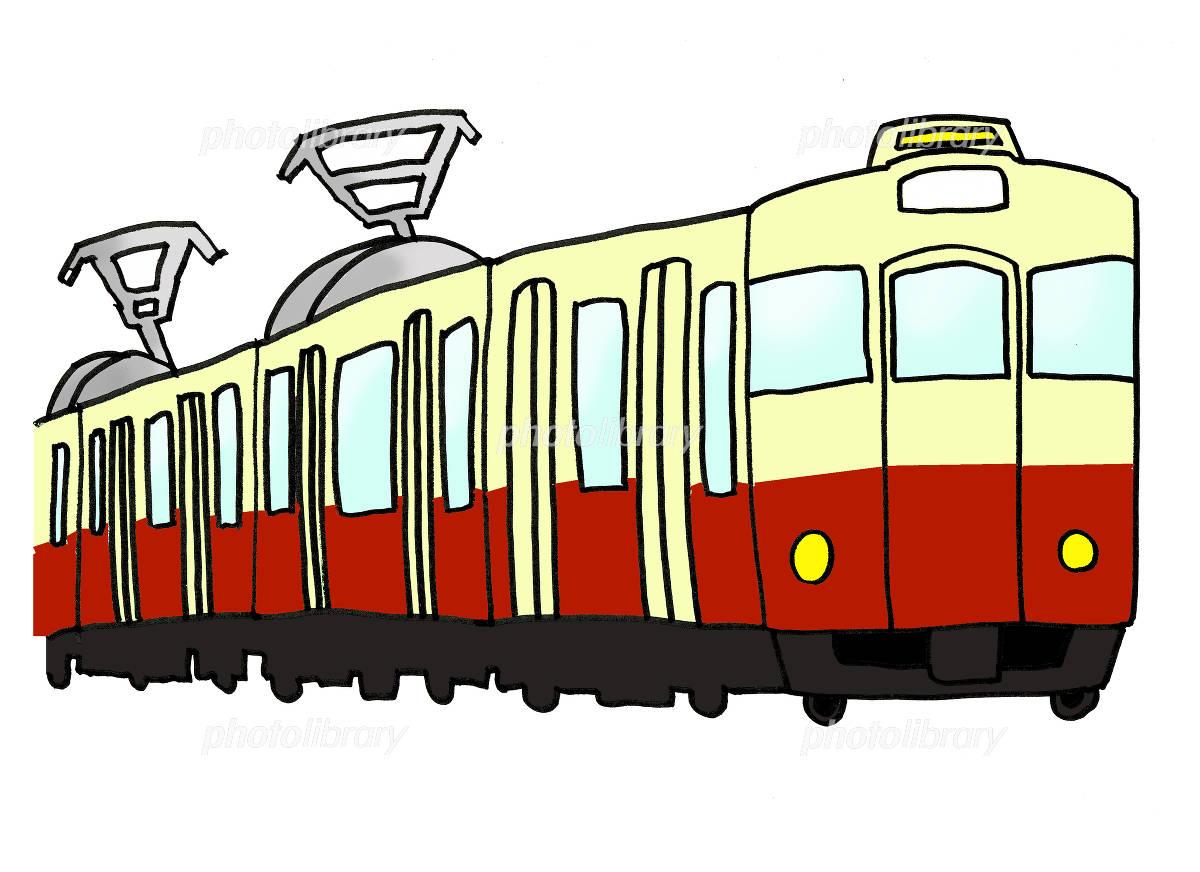 電車-クリームと赤-のイラスト素材