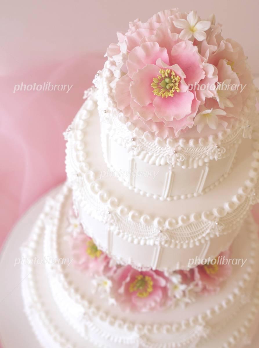 ウエディングケーキ ピンク ...