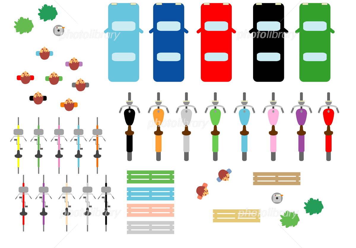 乗り物 人 車 真上から イラスト素材 1262364 無料 フォトライブ
