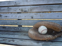 Bench and catcher's mitt Stock photo [1249001] Bench