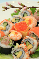 Peach flowers and colorful sushi rolls Stock photo [1257679] Sushi