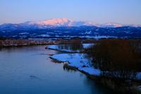 Of snow dyed to sunset Gassan and Akagawa Stock photo [1258776] Gassan