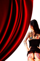 Woman of the back of the red curtain Tattoo Stock photo [1345487] Woman