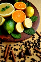 Citrus fruit and coffee beans Stock photo [1535634] Orange
