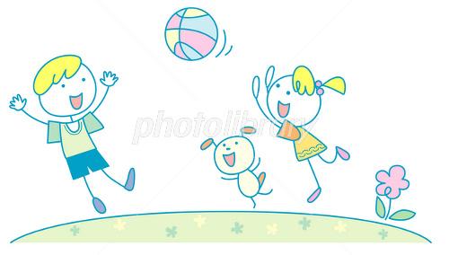 外で遊ぶ子供たち イラスト素材 1645577 フォトライブラリー