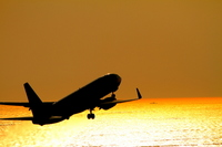 Airplane sunset Stock photo [1643902] Airplane