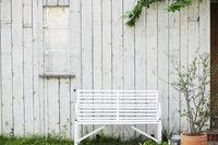 White walls and bench Stock photo [1814880] Wall
