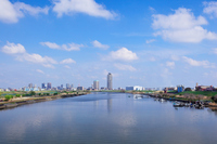 I face a high-rise residential area of Kawaguchi than Shikahama Bridge blue sky spread Motogo Stock photo [1933891] Blue