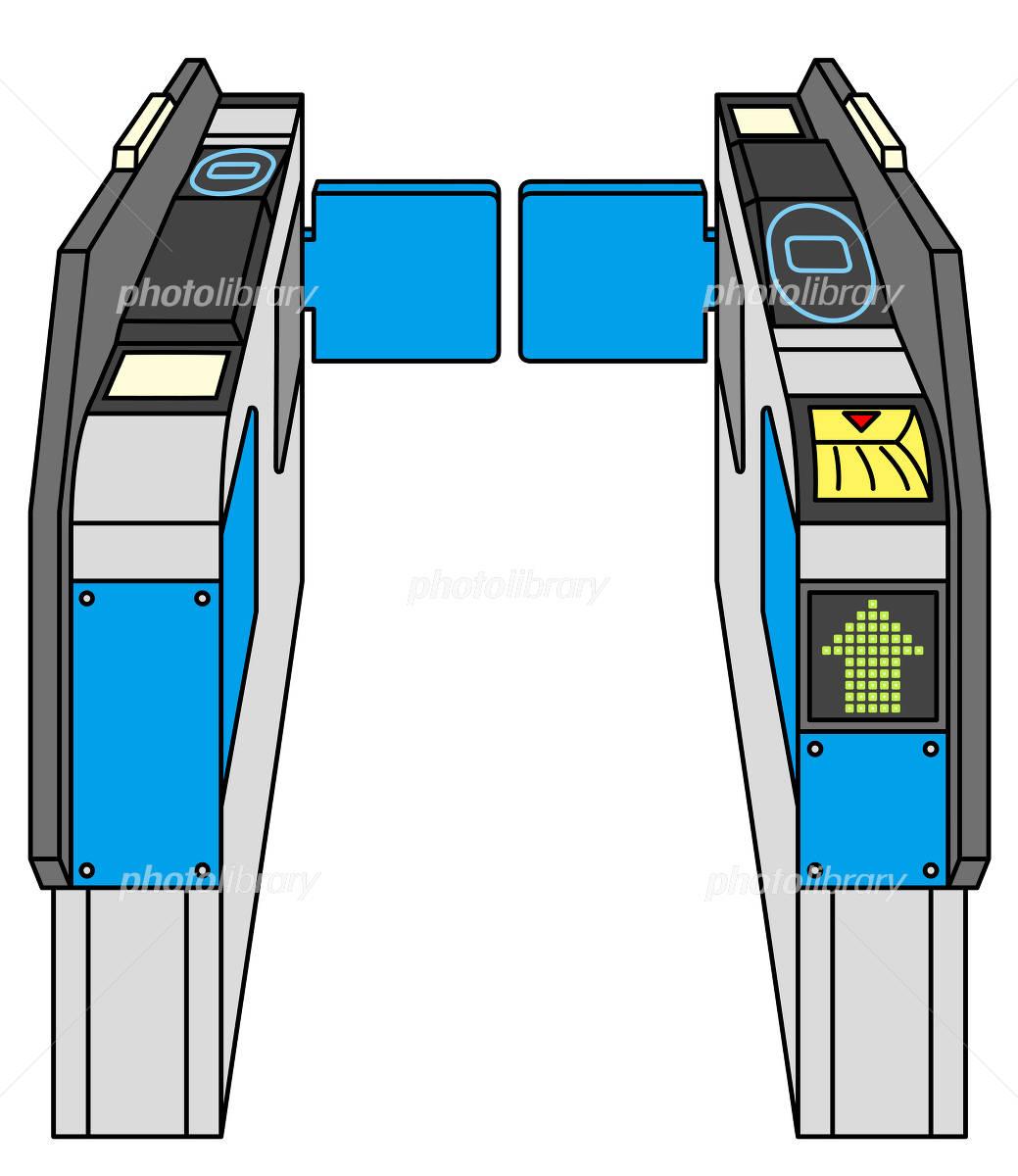 自動改札機のイラスト素材