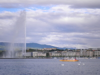 Geneva large fountain and ship and swan Stock photo [2040229] Geneva