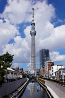 I face the Tokyo Sky Tree that blue sky spreads than Jitsuken Bridge Stock photo [2132722] Landscape
