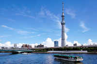 Tokyo Sky Tree blue sky spreads and Sumida River houseboat Stock photo [2133662] Landscape