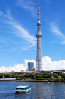 Sumida River and Tokyo Sky tree blue sky spread of pleasure boat-kingfisher Stock photo [2140460] Landscape