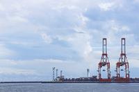 F display of gantry crane and lighthouse of Yokohama Port Stock photo [2143605] Lighthouse