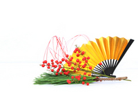 New Year in pine and southern and golden fan Stock photo [2143789] New