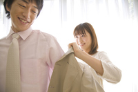 Wife you are over dressed jacket suits husband Stock photo [2378327] 2