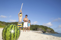 Parent and child to a watermelon splitting Stock photo [2382459] Three