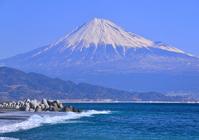 Fuji from Miho coast stock photo