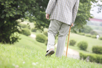 From behind the old man to walk while month cane the park Stock photo [2390711] 1