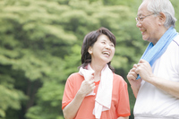 Elderly couple that the exercise in the park Stock photo [2390797] 2