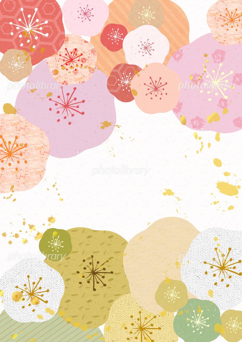 Japanese paper Kazeume of flower イラスト素材