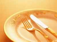 Fork and knife on a plate Stock photo [2506731] Dish