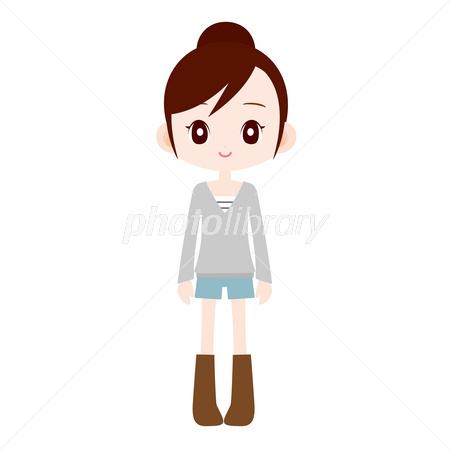 ティーンエイジャーの女の子 お団子ヘア イラスト素材 2630920