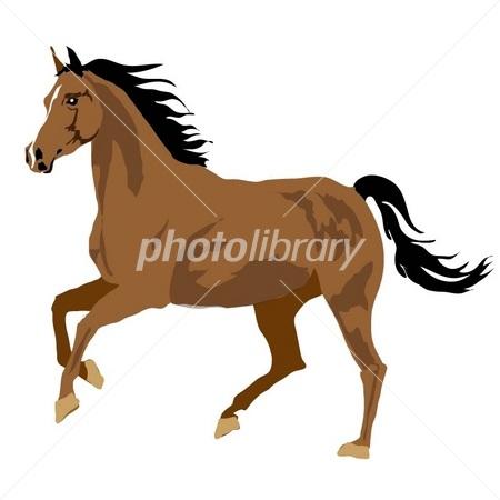 馬のイラスト左向きの茶色の馬の横から姿 イラスト素材 2634795