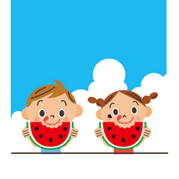 Children eating watermelon [2634031] Large