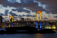Rainbow of special light-up of Rainbow Bridge Stock photo [2720972] Tokyo