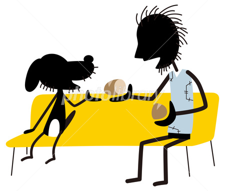 食べ物を分け合う男性 イラスト素材 [ 2799976 ] - フォトライブラリー ...
