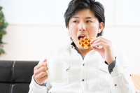 Men eat waffles Stock photo [2801104] Man