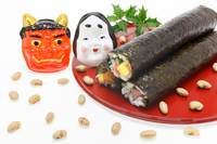 Setsubun Otafuku and red demon and lucky direction winding Stock photo [2889888] Traditional