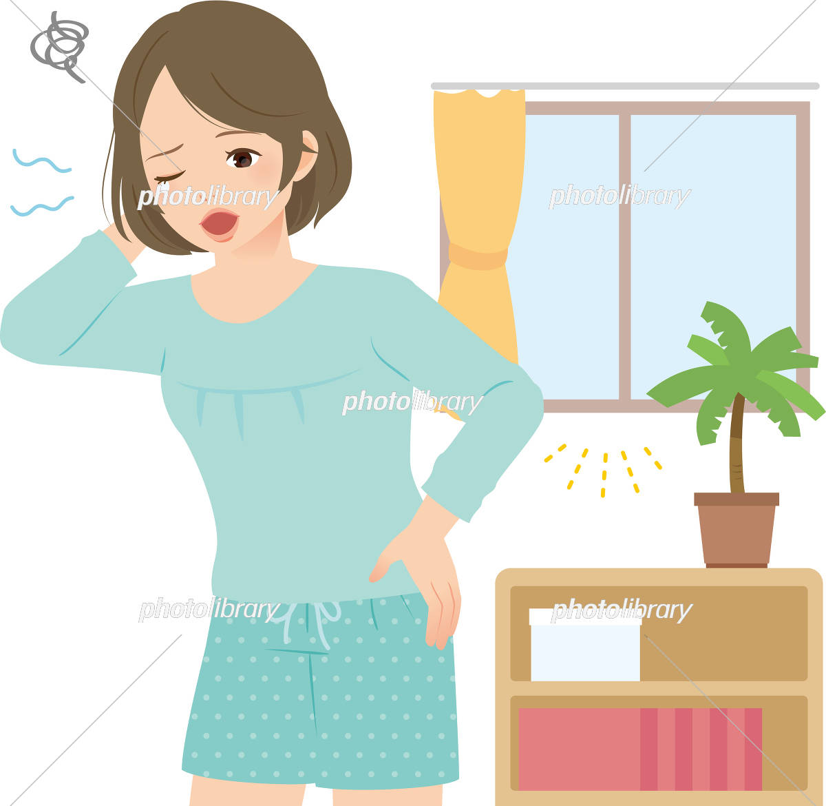 朝の室内で眠そうにあくびする若い女性 イラスト素材 3060994