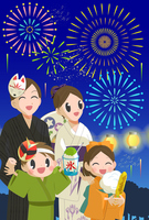 Family and fireworks [3139306] Family