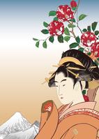 Utamaro beauty images and Hiroshige Ueno Shitadera camellia image illustrations of Female