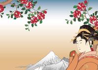 Utamaro beauty images and Hiroshige Ueno Shitadera camellia image illustrations of stock photo