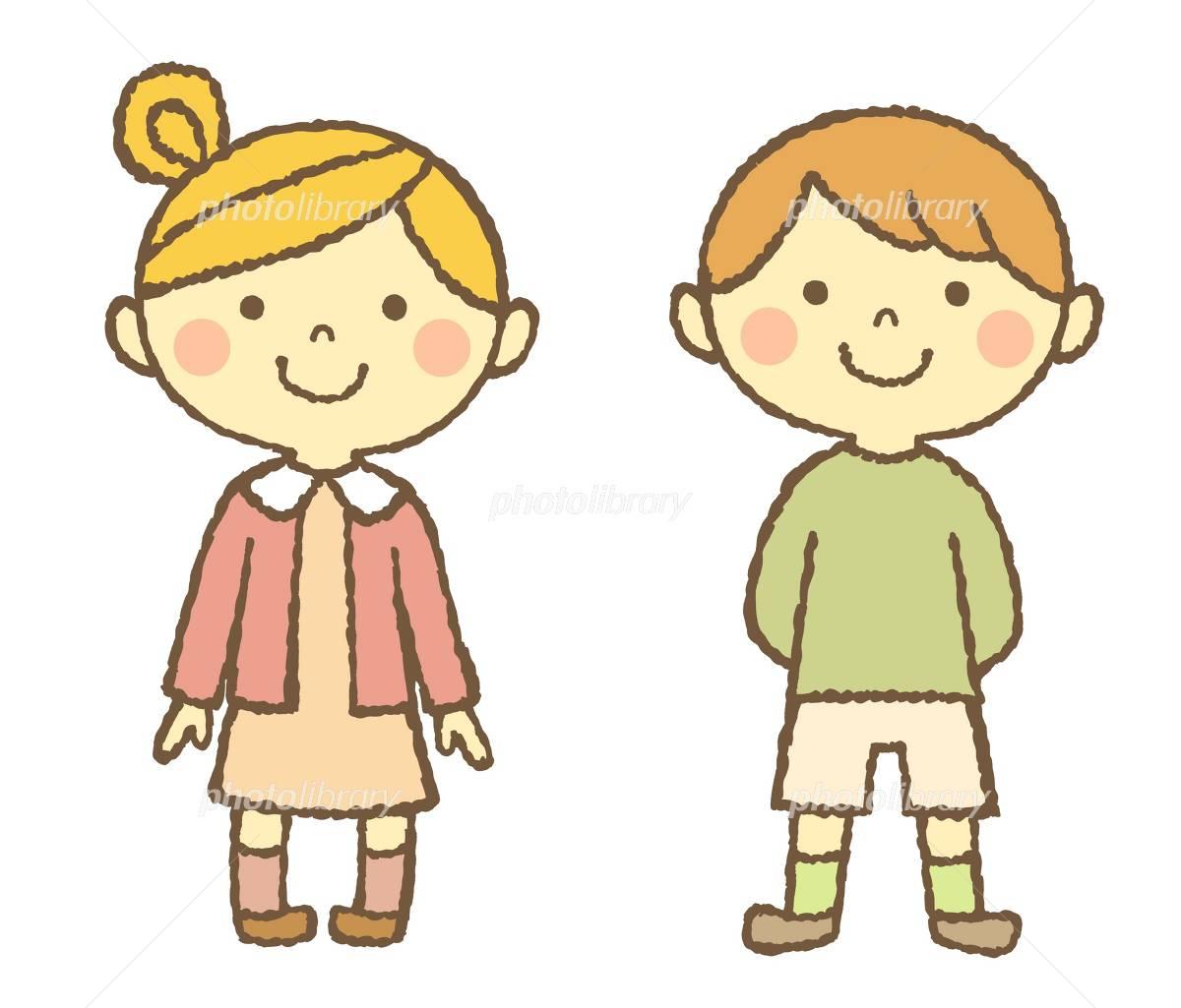 男の子 女の子 笑顔 イラスト素材 3344896 フォトライブ