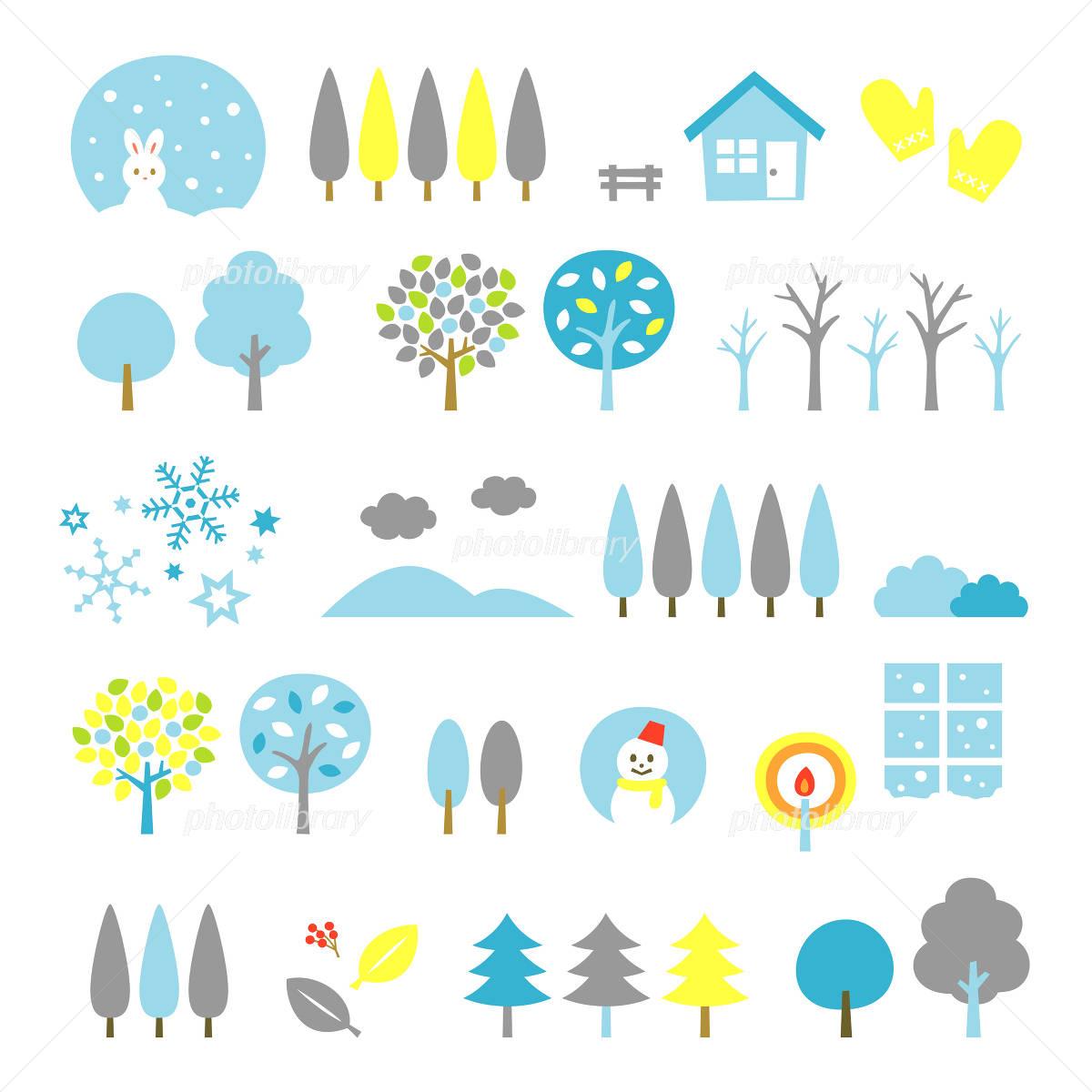 木の素材セット 冬 イラスト素材 3347871 フォトライブラリー