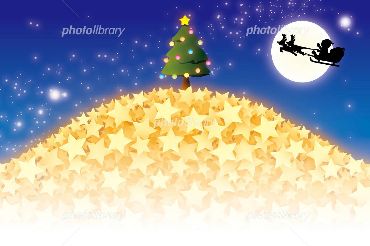 背景素材壁紙 クリスマス サンタとトナカイのソリ イラスト素材